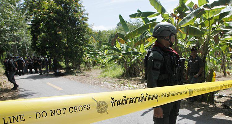 Poliser står vid ett gult band bredvid bananträd med gröna blad