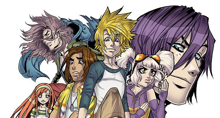 Ungdomarna i Bleckmossen. De är ritade i japansk mangastil. De har stora huvuden och stora ögon.