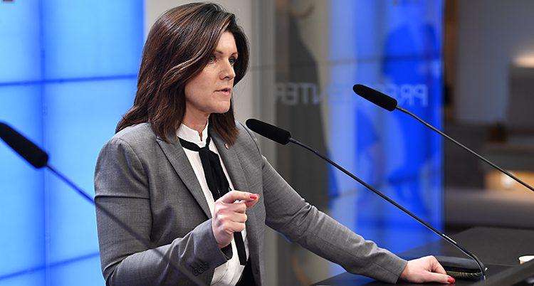 En minister pratar inför journalister. Hon pratar i en mikrofon och gör gester med händerna. Hon har långt brunt hår, grå kavaj och vit skjorta.