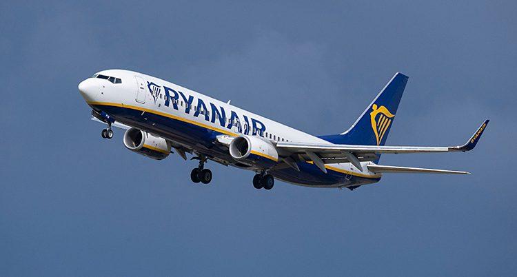 Ett flygplan som är i luften. Det är ett vitt flygplan med blå stjärt. Det står Ryanair i blått på planets sida. Himlen är blå.