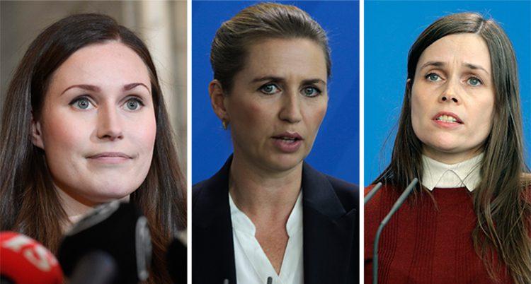 Sanna Marin, Mette Frederiksen och Katrín Jakobsdóttir. Treunga kvinnor som är ledare i Norden.