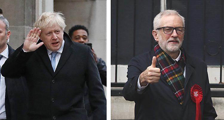 Ledarna för de två stora partierna, Boris Johnson och Jeremy Corbyn.