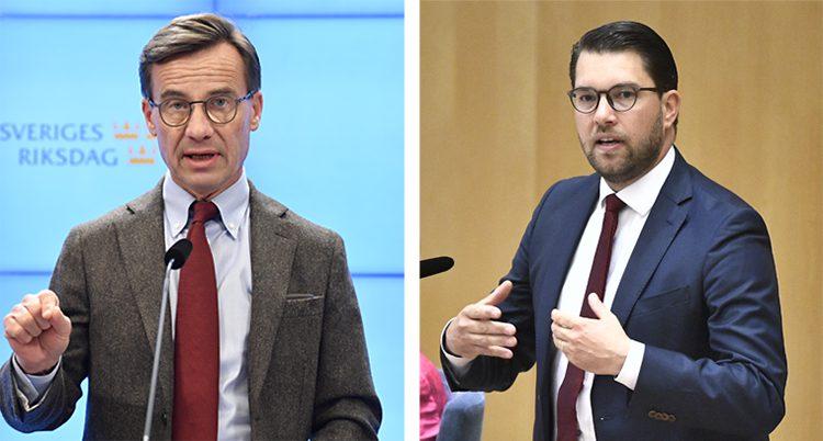 En delad bild. Till vänster Moderaternas ledare Ulf Kristersson. Till höger Sverigedemokraternas ledare Jimmie Åkesson.