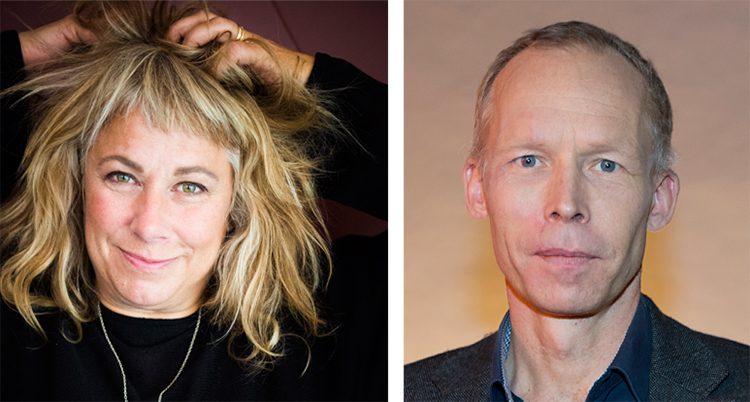 Delad bild på Stina Wollter och Johan Rockström. Hon har långt hår och händerna vid sitt huvud. Han har en mörk kavaj. Båda tittar in i kameran.