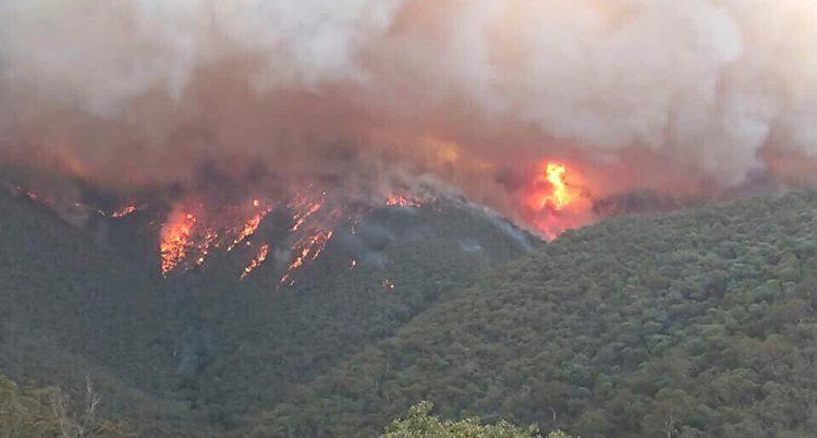 En bild som är tagen från luften och som visar en stor brand. Man ser lågor och rök från bränder i gröna kullar och berg.