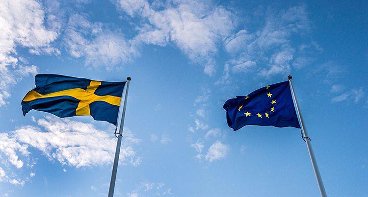 Bilden visar Sveriges flagga och EUs flagga mot en blå himmel med några moln. Sveriges flagga är blå med ett gult korts. EUs flagga är blå med gula stjärnor.