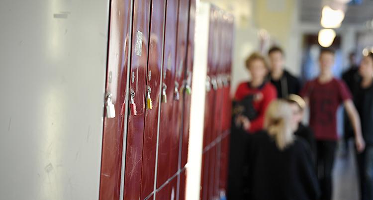 Bilden är tagen i en korridor i en skola. Vi ser några röda skåp. I bakgrunden syns elever, de är suddiga.