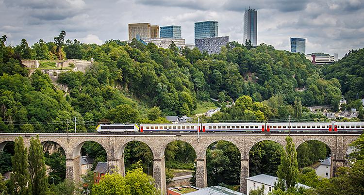 Tåget åker över en hög bro. Bakom syns träd och höga hus