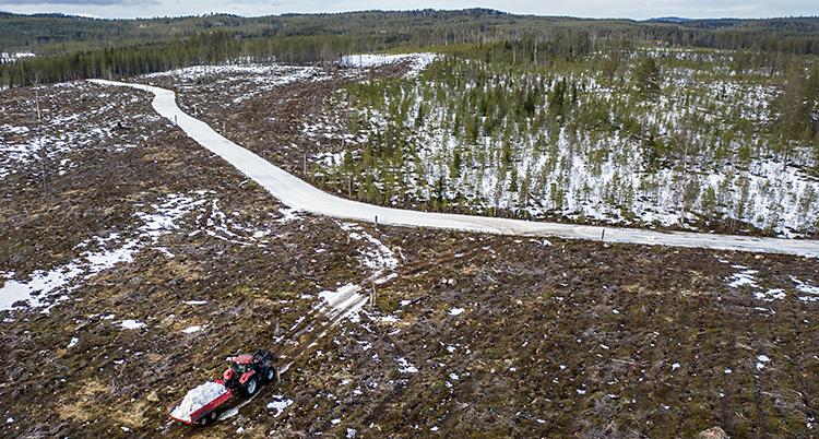 En flygbild som är tagen över skogen i Dalarna. En traktor kör snö i sin skopa. Traktorn kör mot ett spår för längdskidor.
