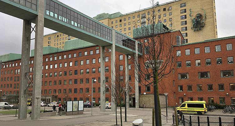 Sahlgrenska sjukhuset i Göteborg. Det är en stor byggnad i rött tegel.