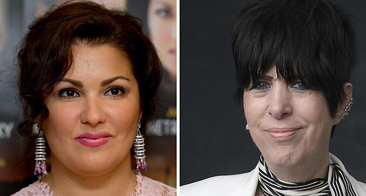 Anna Netrebko och Diane Warren. Båda har mörkt hår. Anna har glimrande stora örhängen i öronen. Diane har en lugg.