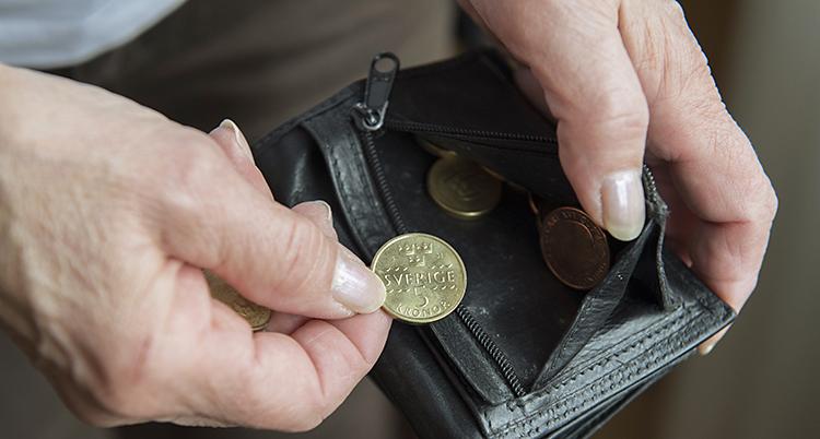 Två händer håller i en plånbok. Det är några mynt kvar i den.