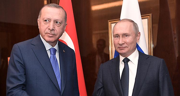 Erdogan och Putin bredvid varandra.