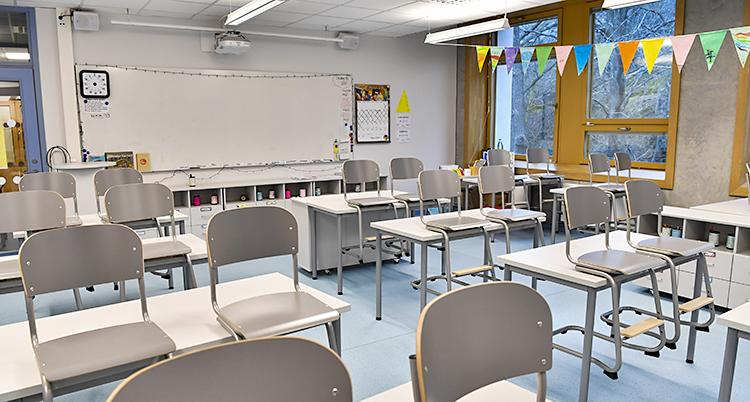 Stolar hänger på bänkar i ett tomt klassrum