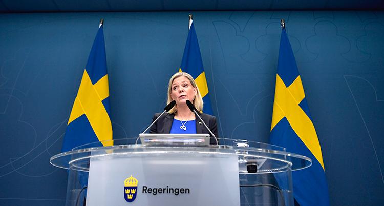 Hon står och pratar i en mikrofon. På podiet står det Regeringen. Bakom syns svenska flaggor.
