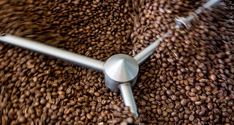massor av bruna kaffebönor