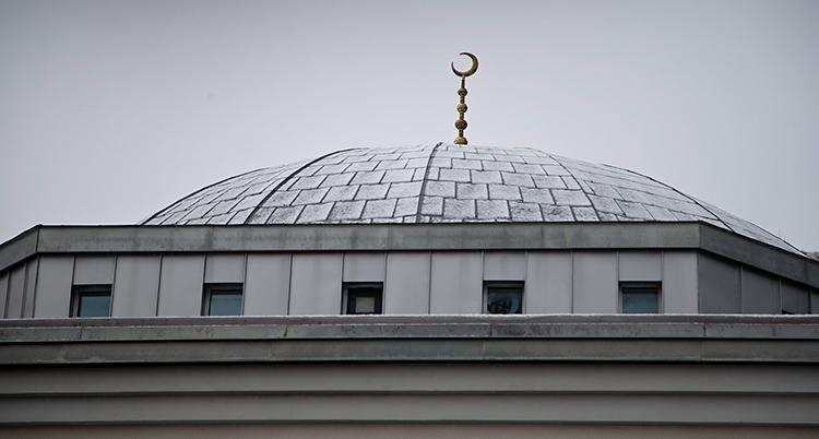 Bilden visar hustaket på en moské. Längst upp på taket finns en spira. I toppen av spiran är en halvmåne.