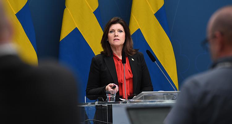 Hon pratar på en träff med journalister. I bakgrunden syns svenska flaggor.