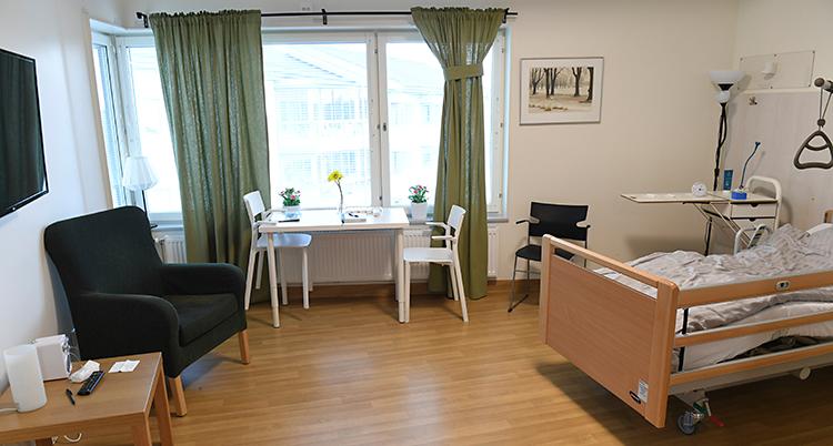 I rummet finns det många möbler. En fåtölj, stolar och en säng, med mera. Gardinerna vid fönstret är gröna.