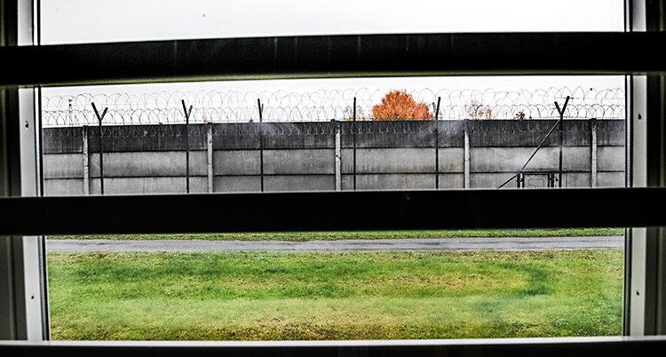 Bilden visar utsikten från ett fönster. Det är galler för fönstret. Utanför är en gräsmatta. Längre bort finns en mur med taggtråd längst upp.