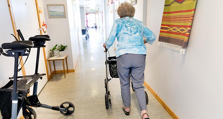 ryggen på en äldre kvinna med en rollator i en korridor på ett äldreboenden.