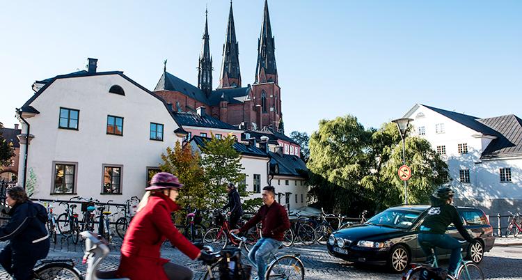 Flera personer cyklar. I bakgrunden syns gamla hus och Uppsala domkyrka