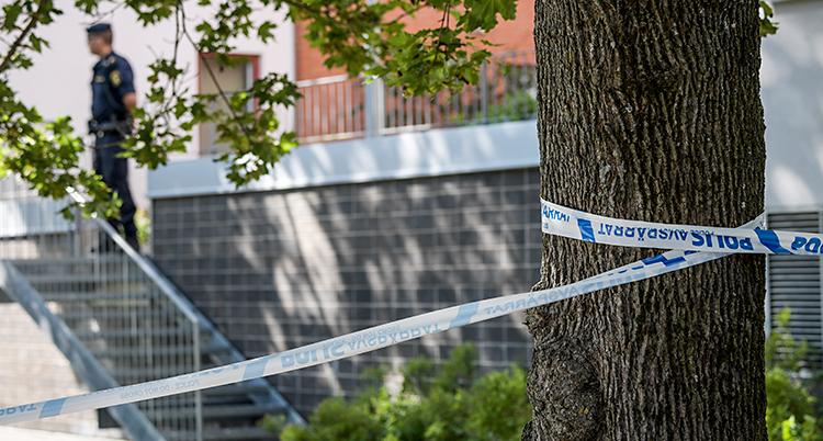 Bilden är utanför ett hus med lägenheter. Poliser har spärrat av med band runt ett träd. I bakgrunden står en polis.