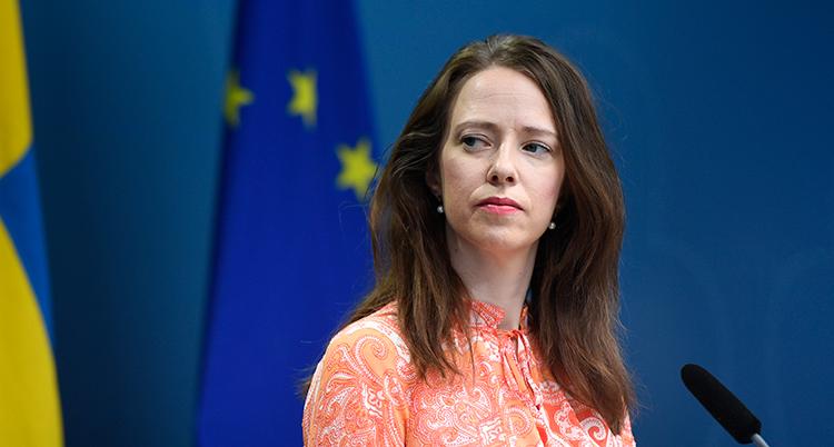 En bild på ministern. Hon har långt brunt hår.