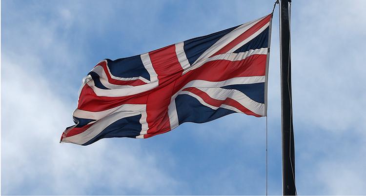 En bild på Storbritanniens flagga.