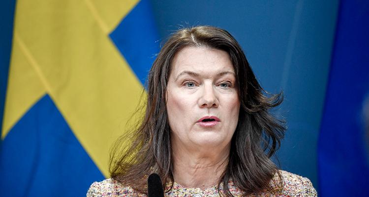 Line framför en svensk flagga.