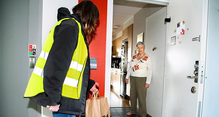 En kvinna lämnar över en kasse mat.