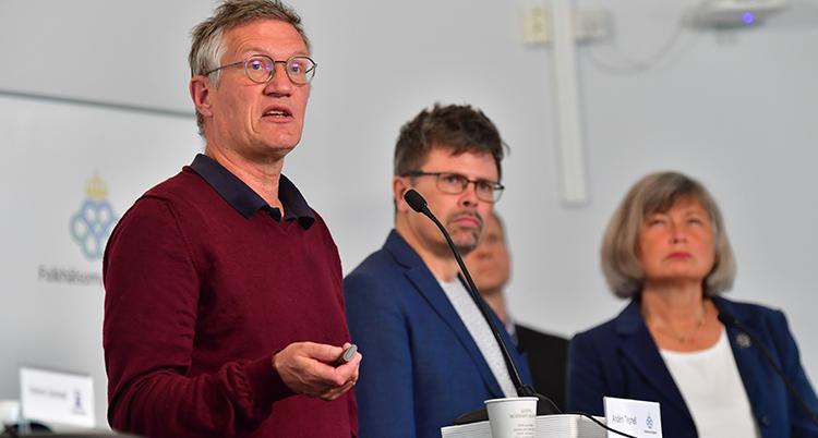Anders Tegnell på måndagens presskonferens.