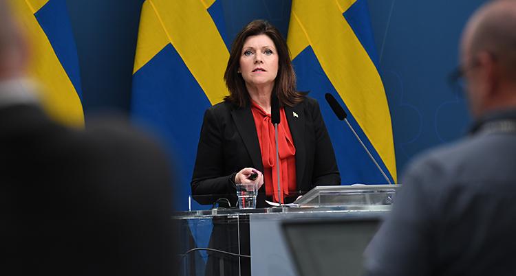 Hon står och pratar på en träff med journalister. Hon står bakom ett podium och pratar i en mikrofon. I bakgrunden finns svenska flaggor.
