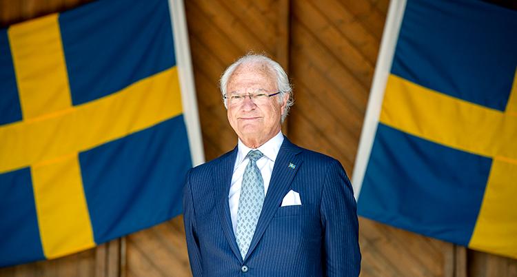 Två svenska flaggor syns bakom kungen.