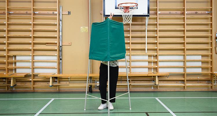 En person står bakom ett grönt skynke. Personen röstar i valet till EU.
