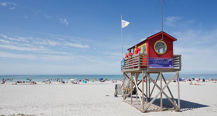 En bild på den vita stranden. Havet och himlen är blå.