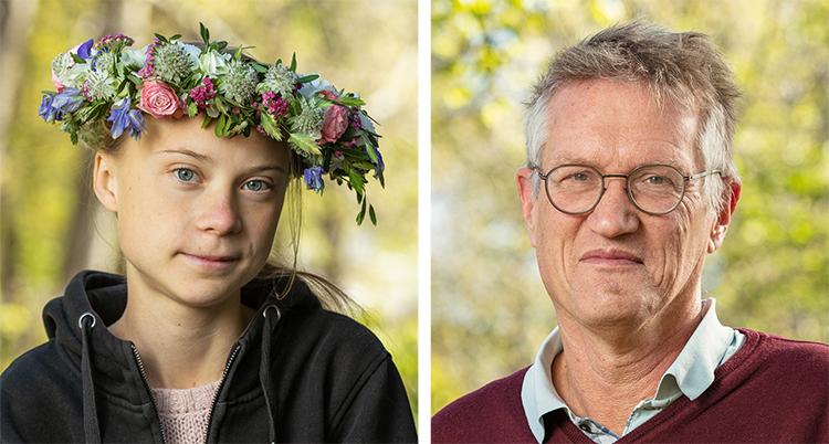Två bilder på deras ansikten. Greta har en krans i håret.
