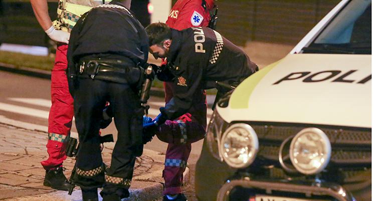 Några poliser står vid sidan av en polisbil. De böjer sig ner och undersöker något på marken.