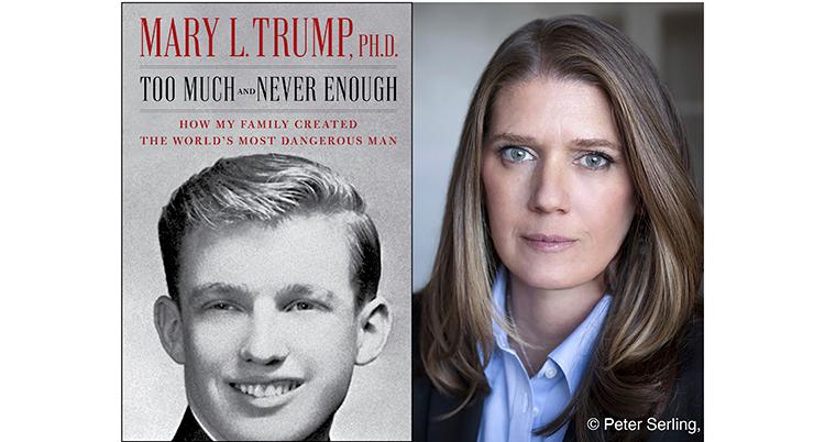 En bild på boken om Donald Trump och en annan bild på författaren Mary Trump.