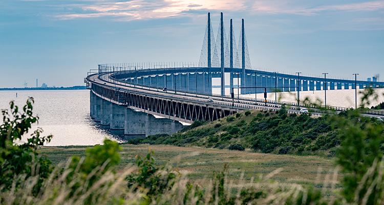 Bilden är tagen från land, ut mot havet. I havet syns en stor bro.
