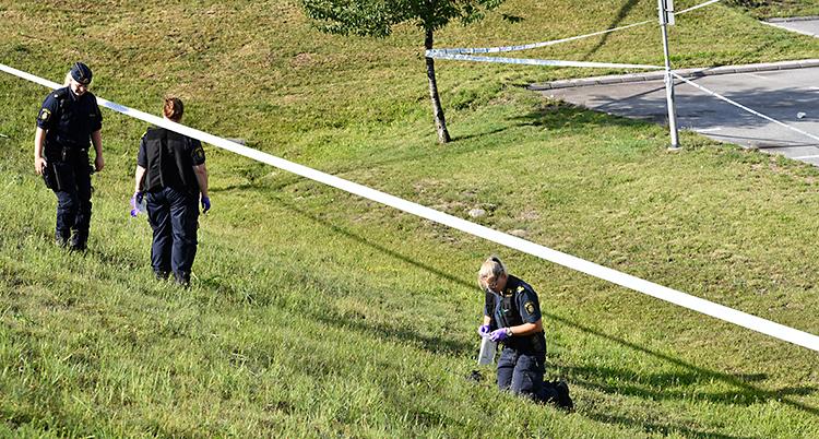 Tre poliser är på en slänt med gräs. De har plasthandskar på sig. De verkar leta efter spår. Runt slänten har poliserna spärrat av med band.