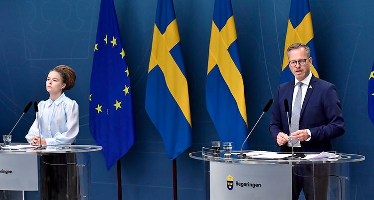 Lind och Damberg står i varsin talarstol en bit från varandr. Bakom dem är tre svenska flaggor påg en EU-flagga.