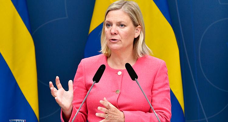 Hon har en rosa skjorta och två mikrofoner framför sig. Bakom henne syns Sveriges flagga.