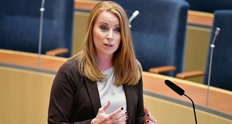 Annie Lööf pratar i riksdagen. Bilden är från ett annat tillfälle.