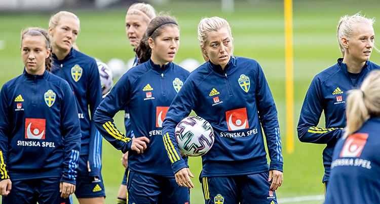 Bilden är tagen på en fotbollsplan. Vi ser flera spelare i Sveriges lag. De har träningskläder. En av spelarna håller en fotboll.