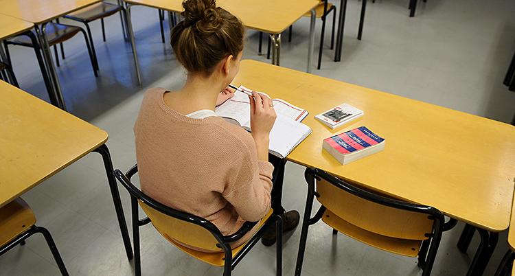 Bilden är från ett klassrum. En kvinna sitter med ryggen mot kameran. Hon har flera böcker framför sig, på ett bord.