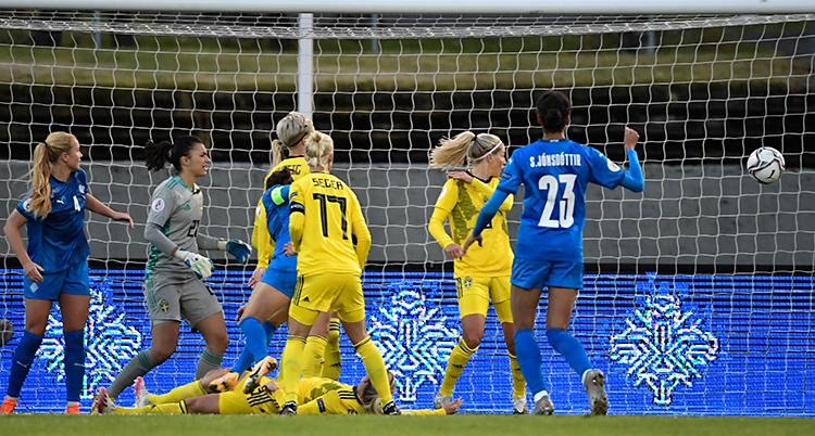 Från en match i fotboll. Island har blå kläder. Sverige har gula. Bollen är på väg mot Sveriges mål.