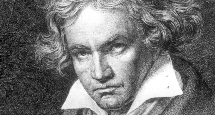 En svartvit teckning av Beethoven.