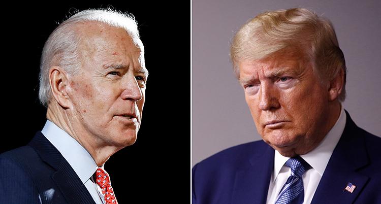 Två bilder. Den vänstra föreställer Biden.Han har grått hår och röd slips. Trump har ljust hår och blå slips.