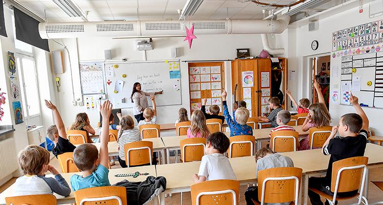 Elever som sitter i skolbänkar i ett klassrum.